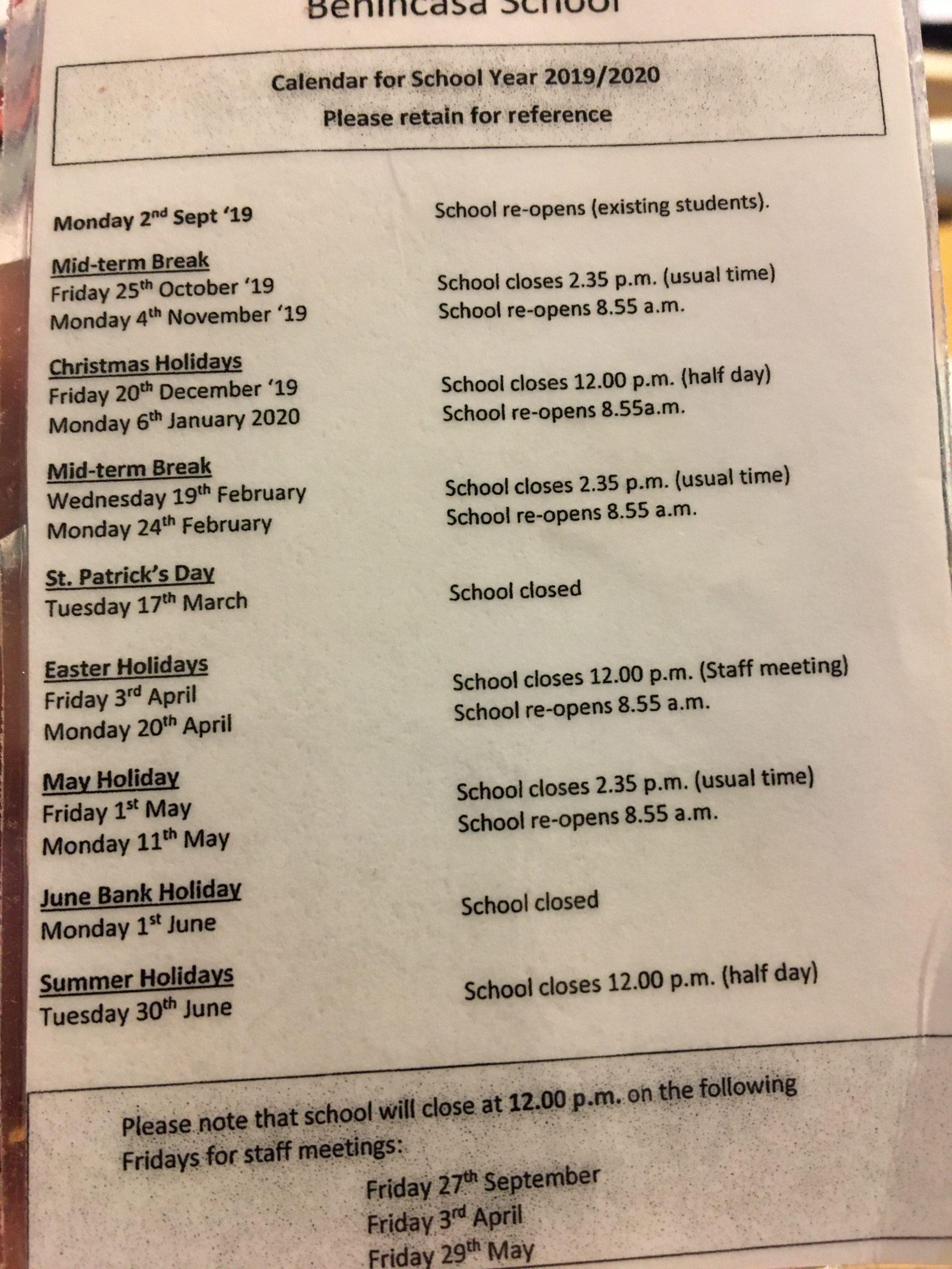 school calender 19-20
